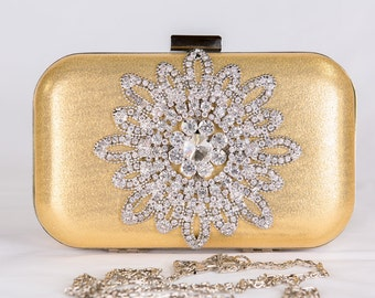 Gold wedding clutch, Bridal clutch, evening bag, Modern clutch, bridesmaid bag, crystal clutch c64