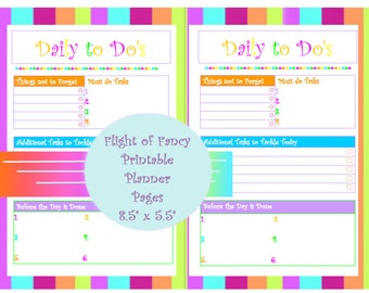 Small Printable - Daily To Do - Planner Page (PDF) Downloadable INSTANT DOWNLOAD Planner Page Daily Organizer Page Colorful Digital Planner