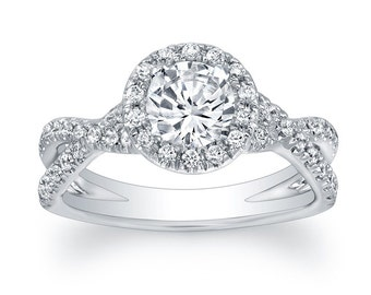 Diamond Pave Criss-Crossed Split Shank Semi Mount Engagement Ring (No Center)