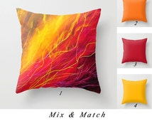 Abstract Art Pillow, Throw Pillow Covers, Bright Red, Purple, Yellow, Decorative Pillows, Colorful Cushion Cover, Sofa Pillow, Accent Pillow