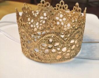 First birthday gold crown headband, birthday crown, gold crown, newborn headband, infant crown, birthday headband, gold headband