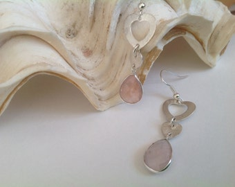Rose Quartz Earrings. Silver, Heart, Drop, Genuine Gemstone