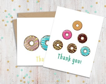 Set of 10 Donut Thank You Cards, Doughnut Cards, Greeting Cards, Funny Cards, Blank Cards, Cards for Friend, Card Set, FourLetterWordCards