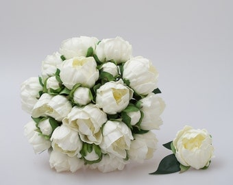 White Peony Bridal Bouquet, bridesmaid bouquets, groom and groomsmen boutonniere set