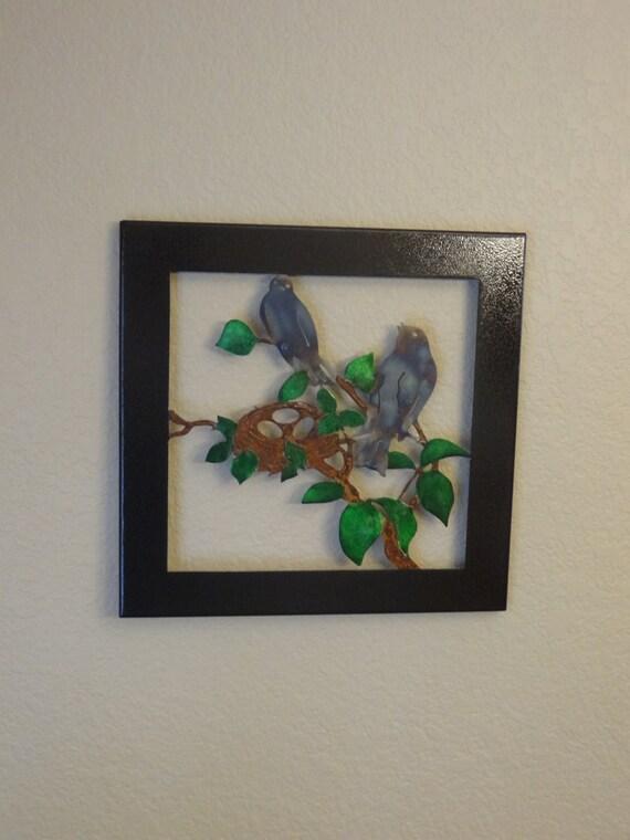 Metal Wall Decor Etsy : Items similar to birds in a tree metal art wall