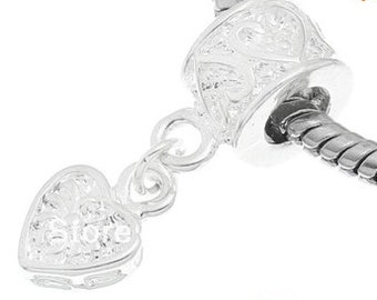 white silver heart european bead