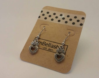Crowned Heart Dangle Earrings (hypoallergenic)
