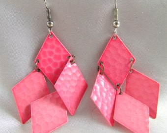 Vintage Pink Dangle Pierced Earrings