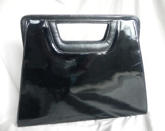 1970's or 80's Modern Black Patent Leather Clutch Purse Handbag by Ande'