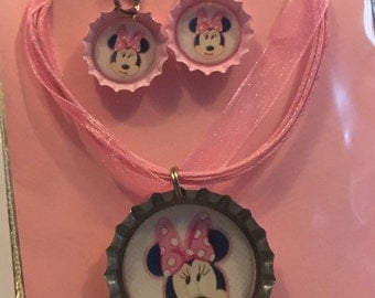 Girls bottlecap jewelry sets