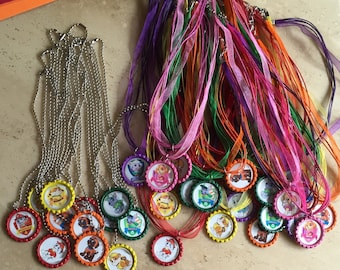 Boys and girls Bottlecap necklaces