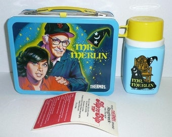 KST Thermos 1981 MR MERLIN Metal Lunchbox & Thermos Mint With Tags and Paperwork
