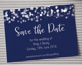 SAMPLE save the date wedding magnet or card, glittering lights design, navy blue