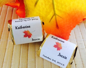 Fall Candy Wrappers, fall candy bar wrappers, fall wedding favors,fall leaves  wrappers, leaf wedding favors, fall bridal shower