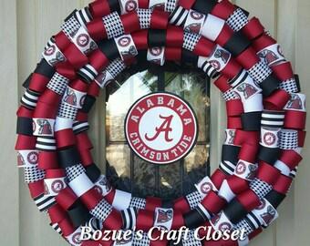 Alabama wreath, Crimson Tide decor, Alabama, Crimson Tide wreath, college football, University alabama, sports wreath
