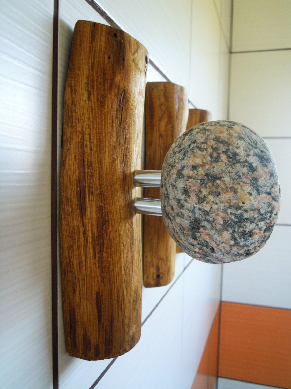3 pcs beach stone hooks coat rack decorative wall hooks. Black Bedroom Furniture Sets. Home Design Ideas