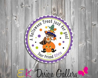 Halloween Personalized Tag, School Treat Tag, Favors Party Gift Tags, Halloween Stickers, Digital  Halloween Thank you Tags