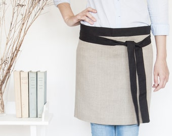 elegant half linen apron made of 100% linen