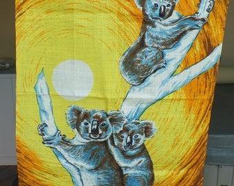 Vintage Koalas Souvenir Tea Towel. New. Linen.