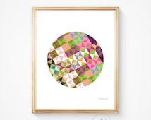 Geometric art, Geometric print, Scandinavian art Wall art prints Circle art Circle print Circle wall decor Colourful print, Instant download