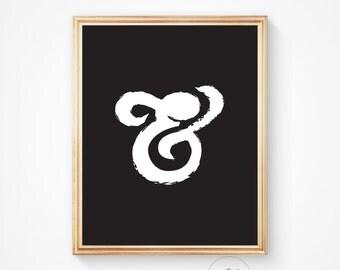 Ampersand poster, Wall art, Ampersand print, Typographic print, Wall decor, Printable, Home decor, Ampersand, And, Ampersand art