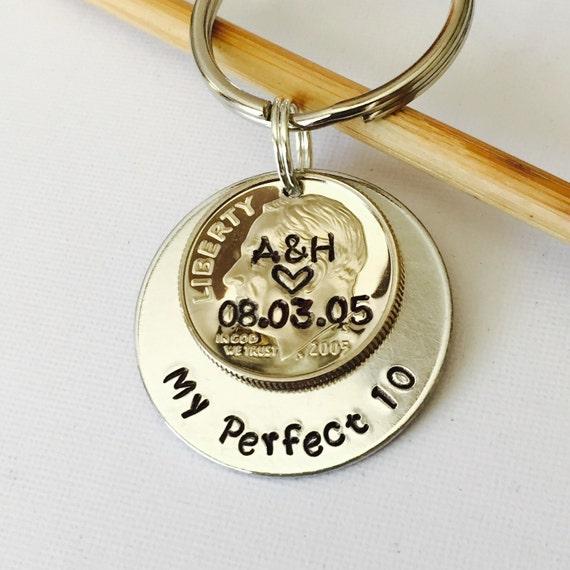 My Perfect 10 Ten Year Anniversary Custom Dime Keychain