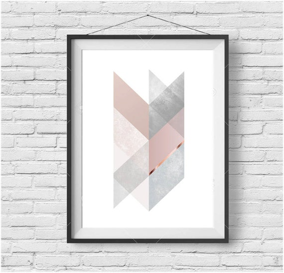 16 Rose Gold And Copper Details For Stylish Interior Decor: Chevron Print Chevron Art Scandinavian Print Scandinavian