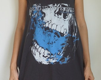 Ladies Matt Shadows Dress (Skirt Vest Tank-Top Singlet T-Shirt Dress) Women's Retro Free Size