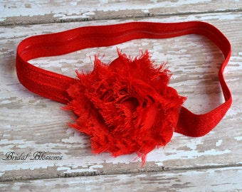 NO SLIP Red Baby Headband | Shabby Chiffon Frayed Flower Headband | Shabby Chic Newborn Headband | Photo Prop | Little Girl Hair Bow