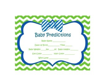Chevron Bow Tie Baby Shower Games, Prediction For Baby, Navy and Lime Shower, Bow Tie Shower Game, Guess Birthday,  INSTANT DOWNLOAD 282