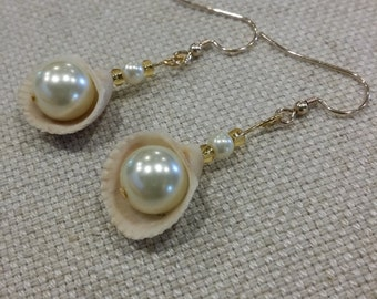 "1-1/4"" ""Aphrodite"" Handmade Shell, Pearl & Gold Drop Earrings"