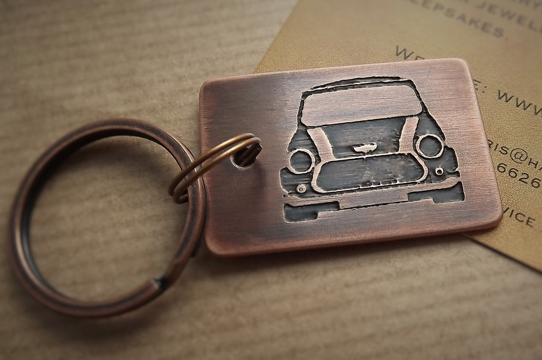 Classic Mini Keyring Mini Cooper Car Keyring Etched Copper