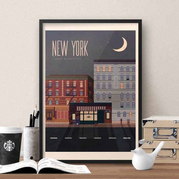 Tv Show Poster Friends American Drama Movie Vintage: Friends TV Show Themed New York Travel Poster Vintage Style