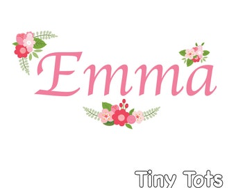 Vinyl Wall Decals, Name Wall Decal, Baby Nursery Decals, Nursery Name Decal, Floral Decal, Custom Name Decals, Girl Name Decals