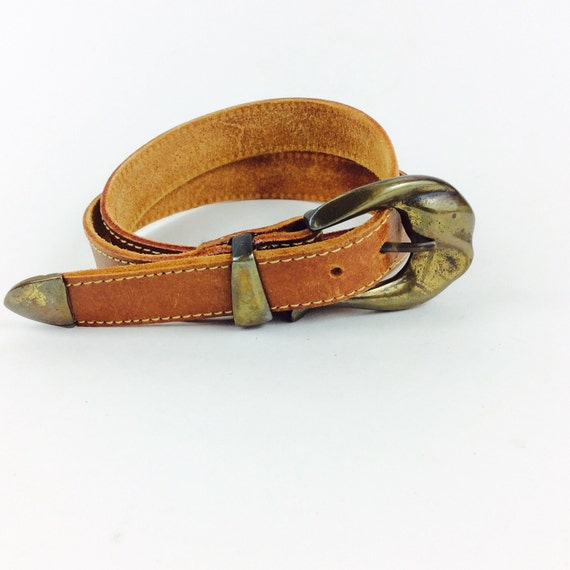 vintage leather belt with metal belt buckle small leather belt
