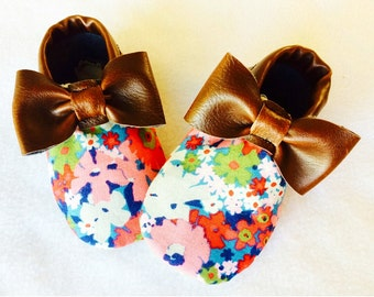 multicolored flower moccasins