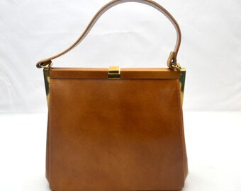 Vintage Lavalize Handbag, 1950s-1960s Era Purse, Brown Bag with Gold Tone Hardware