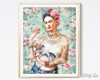 Frida Kahlo - Art Print - Illustration - Portrait - Painting- Portrait - Home Decor - Pop Art - Sphynx - Cat Art - Homage