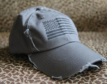 CHARCOAL/BLACK Distressed Special Forces Operator Tactical American US Flag Hat