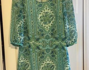 Paisley Three Quarter Sleeve Dress
