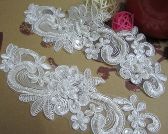 2 pcs of Beaded and Sequins Lace Applique, DIY Lace Accessories, Wedding Accessories, Hair Accessories