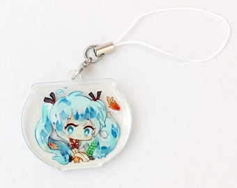 Bottle Miku Double Sided Front & Back Vocaloid Charm with Phone Strap
