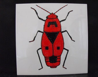 Ceramic Tile Painting, Original. Fire Bug. Red and black bug beetle creepie crawley insect plaque