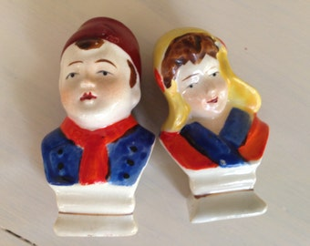Dutch Man and Woman Bust Salt and Pepper Shakers