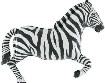 """Zebra Balloon, 43"""", Zebra, Zebra Balloons, Safari Balloons, Zoo, Birthday Party, Safari Party, Animal Balloons, Foil, Helium, Circus"""