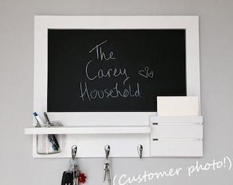 Rustic Chalkboard in white wall organiser