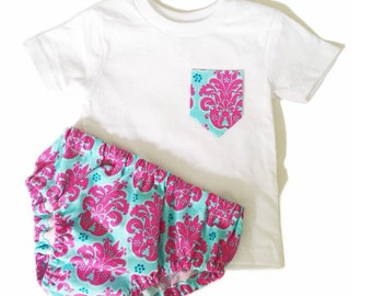 Childrens Diaper Cover/Pocket Tee Set