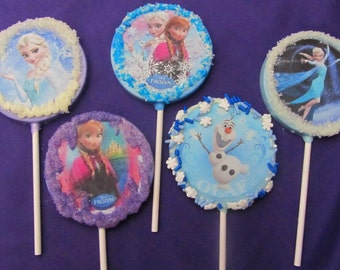 12  Frozen Ice Princess assorted character chocolates lollipops