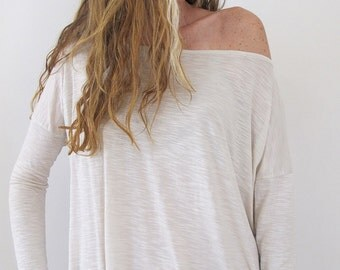 Wide Neck Shirt, Cream Top, Womens Top, Women's Clothing, Boho Top,Cream Tunic,Gifts for Women, Urbanic Tribe