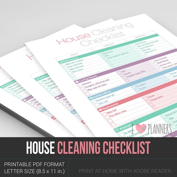 modern one page house cleaning checklist instant by iloveplanners